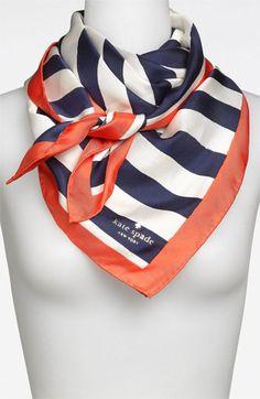 'colorblock brush stripe' silk scarf Womens Cream/ French Navy/ Pompeii