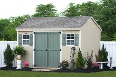 Amish Sheds and Barns Maryland Shedsunlimited Clay, with white trim and get aqua door and shutter, black roof