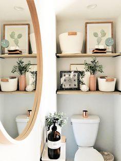 REFRESH Bathroom refresh - Dreaming HomeBathroom refresh - Dreaming Home Toilet Room Decor, Small Toilet Room, Boho Bathroom, Downstairs Bathroom, Bathroom Ideas, Toilette Design, Bathroom Interior Design, Kitchen Interior, Modern Interior