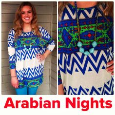 Arabian nights tunic top $37.74! The colors in this top pop beautifully! Add a long statement necklace to make your look even more fabulous!