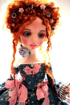 Купить Адель - тёмно-синий, авторская ручная работа, интерьерная кукла, рококо, кукла в подарок