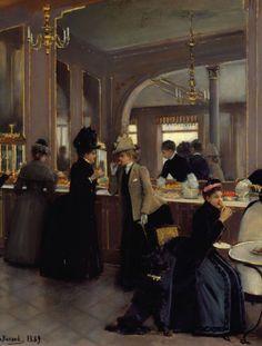 """""""La Pâtisserie Gloppe sur les Champs Elysées"""" (1889) (détail) by Jean Béraud (1849-1935)."""