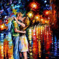 Le tue labbra sono belle di notte, schiuse solo al cospetto della luna, sbocciano in una distesa di corpi sognanti per incantarmi nelle notti insonni della mia esistenza. (Dipinto di Leonid Afremov...