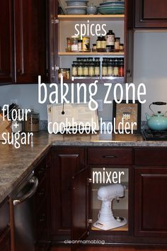 organize your kitchen by creating zones - Clean Mama. Learn this trick when I was working as a Daycare Teacher.
