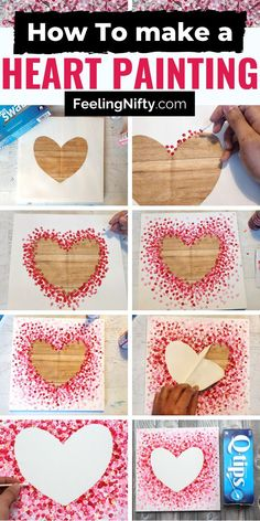 Heart Painting on Canvas with acrylics - 3 ways! Easy DIY Tutorial for Kids & Adults, toddlers, teen Art Projects For Adults, Toddler Art Projects, Valentine's Day Crafts For Kids, Crafts For Seniors, Valentine Crafts For Kids, Valentines Day Decorations, Heart Painting, Painting Art, Paintings
