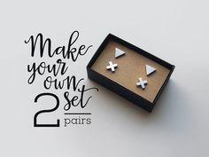 minimal earrings Set of 2 stud earrings / earring set / stainless steel earrings…