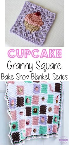 Crochet Cupcake Granny Square: Bake Shop Blanket Series | Free Pattern from Sewrella