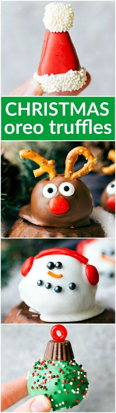 Five different ways to dress up an OREO Cookie truffle for Christmas -- Santa\'s hat, Reindeer, Ornament, and the Snowman. #quick #easy #familyfriendly #best #popular #christmas #holidays #chocolate #oreos #candy #pretzel #peanutbutter #simple #christmasgifts #holidayfun #snowman #santahat #ornament #reindeer