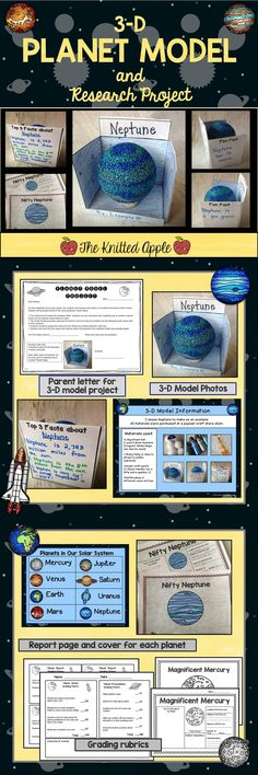Students research and create a 3-D planet model. Includes model photos, planet report pages, and grading rubrics!