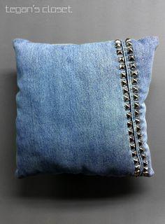 #pillows #studs #pillow Studded Blue Denim Decorative Pillow. $29.00, via Etsy.