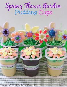 Easter Spring Flower Garden Pudding Cups- super cute marshmallow flower tutorial! #SnackPackMixIns #ad