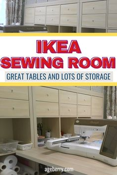 Ikea Sewing Rooms, Small Sewing Rooms, Sewing Room Furniture, My Sewing Room, Unique Wood Furniture, Sewing Room Design, Sewing Studio, Craft Room Tables, Diy Sewing Table