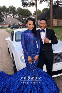Sparkly beaded cobalt blue illusion lace high neck long sleeve mermaid floor length African American long prom dress with rose/rosette chapel train skirt. Black Girl Prom Dresses, Royal Blue Homecoming Dresses, Blue Mermaid Prom Dress, African Prom Dresses, Sparkly Prom Dresses, Prom Dresses Long With Sleeves, Beautiful Prom Dresses, High Neck, Prom Couples