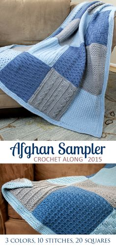 Crochet Afghans Crochet 2 squares a month and have a completed Afghan Sampler in one year's time! Crochet Afghans, Crochet Square Blanket, Crochet Squares Afghan, Crochet Motifs, Crochet Square Patterns, Crochet Borders, Crochet Blanket Patterns, Crochet Baby, Knitting Patterns