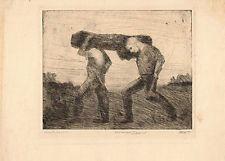 Marco Zim Etching Russia Painter WPA Era Art 1930s Woodchopers Axe Lumberjack