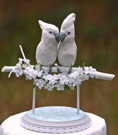 Handmade Cockatoo Wedding Cake Topper by TeaOlive on Etsy, $145.00