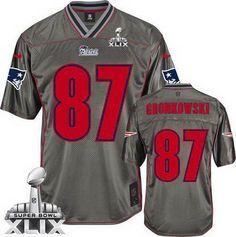 1051de2df46 New England Patriots #87 Rob Gronkowski 2015 Super Bowl XLIX 2013 Gray  Vapor Kids Jersey