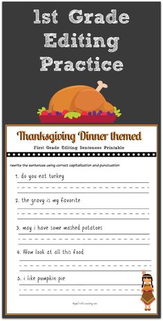 Thanksgiving Grade Editing Printable - Children learn critical reading and writing skills in the first grade. That is why I supplement my son's magnet school education with extra practice at home. These days, more and more people are … - First Grade Writing, Teaching First Grade, First Grade Classroom, Thanksgiving Worksheets, Thanksgiving Writing, Thanksgiving Crafts, Thanksgiving Classroom Activities, Thanksgiving Pictures, Holiday Activities