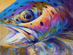 "Title: ""Face of A Rainbow"" Rainbow Trout Flyfishing Art. A Rainbow Trout Fish Painting by renowned Sporting Marine, Fishing & Wildlife artist Savlen."