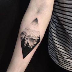 New Landscape Tattoo Dotwork Ideas Dot Tattoos, Life Tattoos, Body Art Tattoos, Tatoos, Geometric Tattoos, Triangle Tattoos, Ankle Tattoos, Arrow Tattoos, Image Tatoo