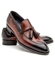 Di Bianco Deco Marmo Tasseled Loafer Smooth leather upper Tonal top stitching Burnished toe and heel Braided tassel accent at vamp Slip-on style Rounded toe Leather lining, sole, and insole Cushioned footbed Blake construction Color: deco marmo Made in Italy