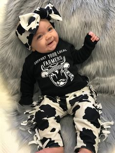 Cow Outfit – Cute Baby Clothes – Baby Girl Cowgirl Outfit – Cute Kids Clothes – Cute Baby Girl Clothes – Farmer Outfit – Sassy Baby Clothes Cow baby clothes – Cute baby clothes – cows and babies Cow Outfits, Cute Baby Girl Outfits, Cute Outfits For Kids, Cute Kids, Cute Babies, Western Baby Clothes, Western Babies, Country Baby Clothes, Country Babies