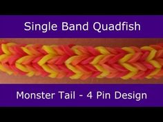 Monster Tail® SINGLE BAND QUADFISH Bracelet. An official Rainbow Loom design. Looming and tutorial by Suzanne Peterson. Click photo for YouTube tutorial. 05/16/14.