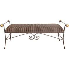 1stdibs.com | Mid Century Iron Bench with Striped Upholstery