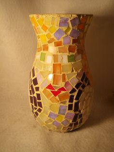 stained glass mosaic on found vase