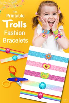 Trolls Printable Fashion Bracelets!  Fun bracelets for little ones (includes 5 extra bracelets). These are also perfect for a Fancy Nancy birthday or Dress Up party. KidsPartyWorks.com
