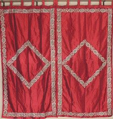 """Paisley Gold Embroidery Dupioni Curtains - 2 Burgundy Exclusive Window Treatments 82"""""""