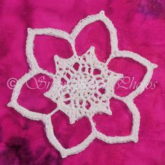"""""""Be Still My Heart"""" snowflake pattern, 4 inches across in size 10 thread with a size 4 hook"""