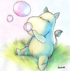 Moomin blowing soap bubbles