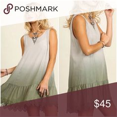 New Arrival Ombré eyelet tunic dress Sage ombré tunic dress with eyelet details . Feminine and flirty silhouette with ombré border. Nwt layer over lace extender for an alternative look . Please use Poshmark feature to buy now selecting size or add to bundle for a discount . Vivacouture Dresses