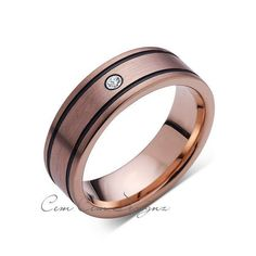 8mm,New,Diamond,Rose Brushed,Rose Gold,Black Grooves,Tungsten Ring,Mens Wedding Band,Comfort Fit