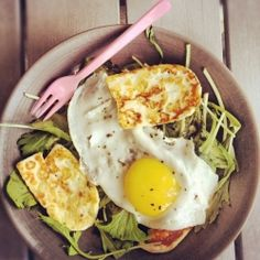 Halloumi and sunny-side-up egg weeknight salad