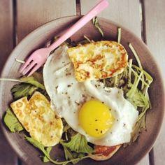 Halloumi and sunny-side-up egg weeknight salad