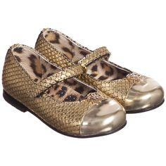 Girls Gold Leather 'Snakeskin' Print Shoes, Roberto Cavalli, Girl