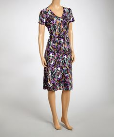 Look what I found on #zulily! Purple & Black Impressionist Short-Sleeve Dress by AA Studio #zulilyfinds