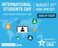 International Students Day is August 31! Free online fair with 125+ universities & more: http://www.collegeweeklive.com/international/sign-up/international-students-day?refcode=INT_STUDYUSA_INTDAYAUG16_Web
