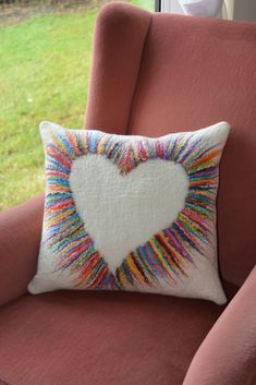 Wet felted cushion cover by Stephanie Tenier @ Feltastik