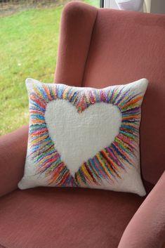 Wet felted cushion cover by Stephanie Tenier @ Feltastik