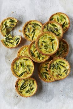 Chef April Bloomfield's Asparagus Quiches with delicate, flaky crust and fluffy egg filling are perfect for spring brunch.