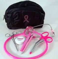 Pink Breast Cancer Awareness Kit / Bling Bag/ Pink Gem Stethoscope And More! Nursing Career, Nursing Assistant, Nursing Articles, Nurse Aesthetic, Student Motivation, Nursing Students, North Face Backpack, Breast Cancer Awareness, Bling