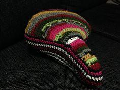 Crocheted bike saddle.  Yarn: Novita 7 veljestä