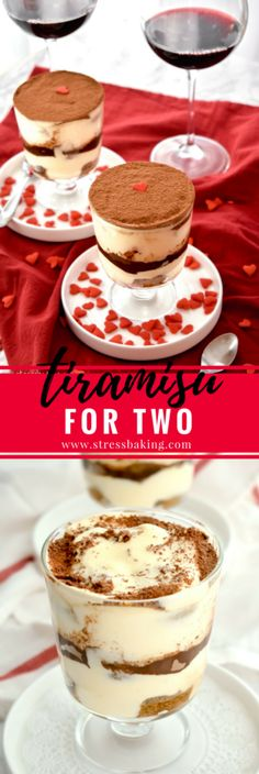 Tiramisu for Two: Creamy, rich layers bursting with the flavors of espresso and liqueur - made especially for two! The perfect romantic Valentine's Day dessert! | stressbaking.com #valentinesday #tiramisu #dessert #trifle via @stressbaking