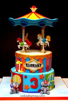 Carnival Carousel Birthday Cake with Circus Animals and Hot Air Balloons (Zachary)