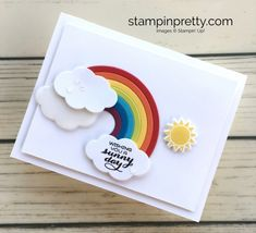 A Simple Rainbow Card to Brighten Someone's Day (Mary Fish, Stampin' Pretty The Art of Simple & Pretty Cards) Pretty Cards, Cute Cards, Rainbow Card, Rainbow Colors, Mary Fish, Stampin Pretty, Marianne Design, Get Well Cards, Stamping Up