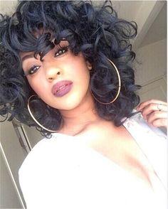 New Stylish Lolita Quăn Ngắn Full Tóc Giả Tổng Hợp Ngắn Tóc Giả Kiểu Tóc Afro Quăn Người Mỹ Gốc Phi Tóc Giả Màu Đen