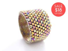 Metallic Gold Ring Gold Beaded Ring Classic Ring by JeannieRichard, $18.00